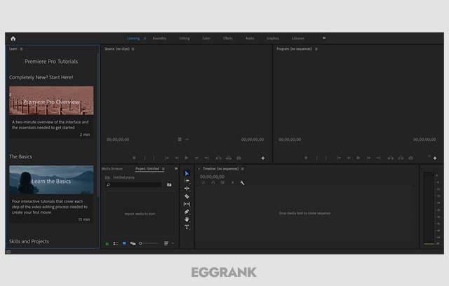 프리미어 프로 2020 크랙 실행 화면